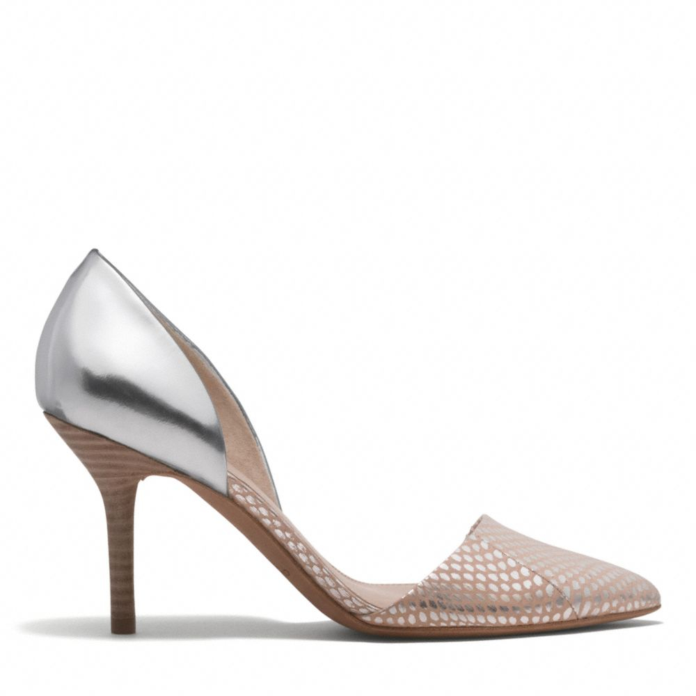 Coach Camille Foil Snake Pointed Toe D Orsay In Pink