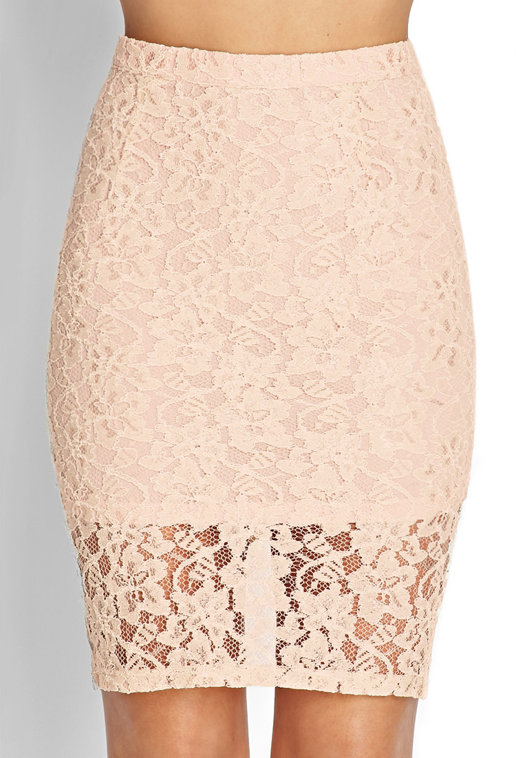 forever 21 floral lace pencil skirt in pink lyst