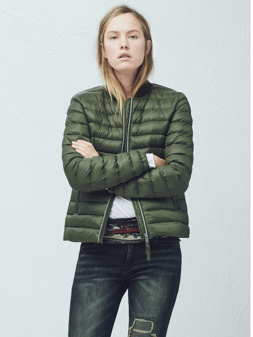 Mango Quilted Down Jacket in Khaki