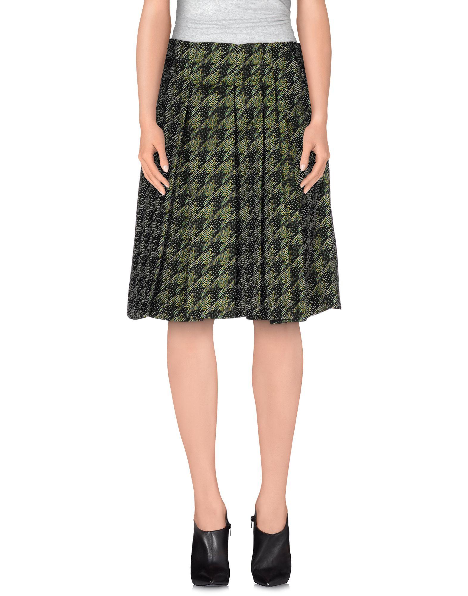 jil sander navy knee length skirt in green lyst