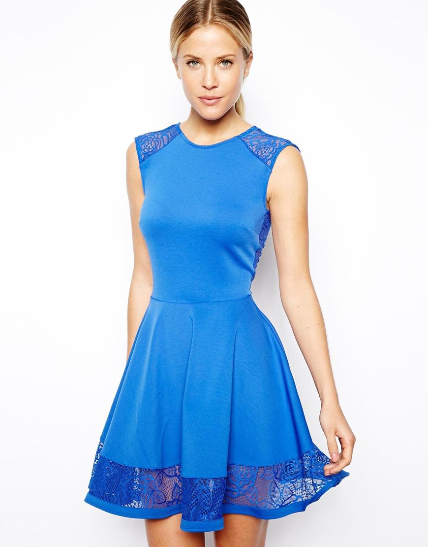 163b6111da Lyst - ASOS Lace Insert Skater Dress in Blue