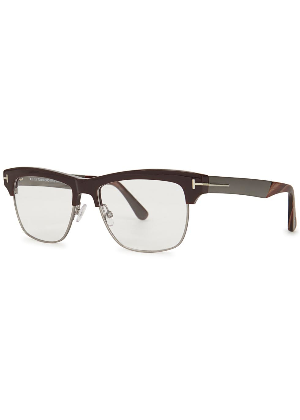4825e809ea7 Tom Ford Brown Clubmaster-style Optical Glasses in Brown for Men - Lyst