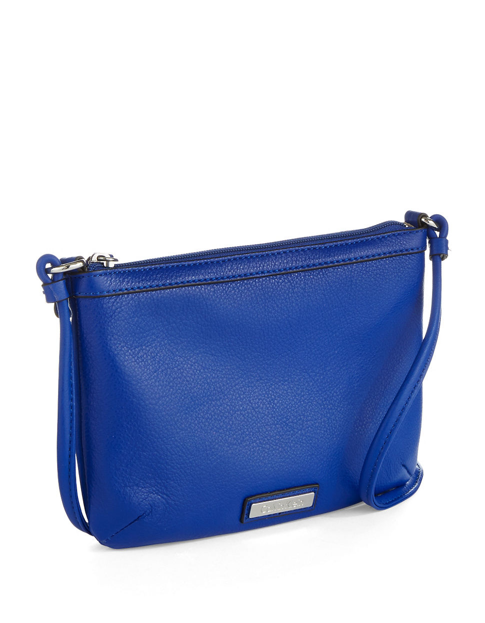 Calvin Klein Pebbled Leather Crossbody Bag in Blue (Retro Blue)