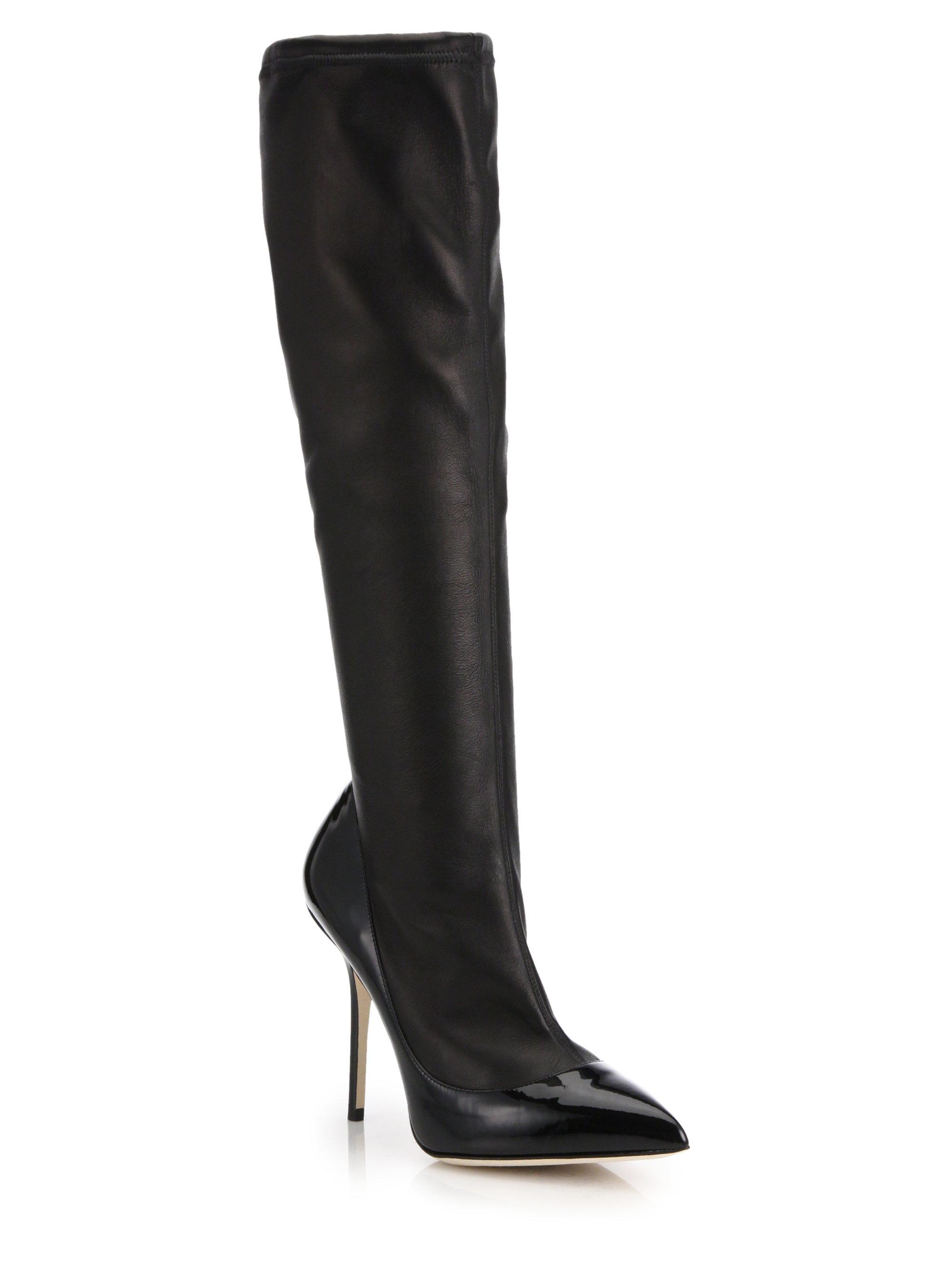 dolce gabbana stretch nappa patent leather knee high