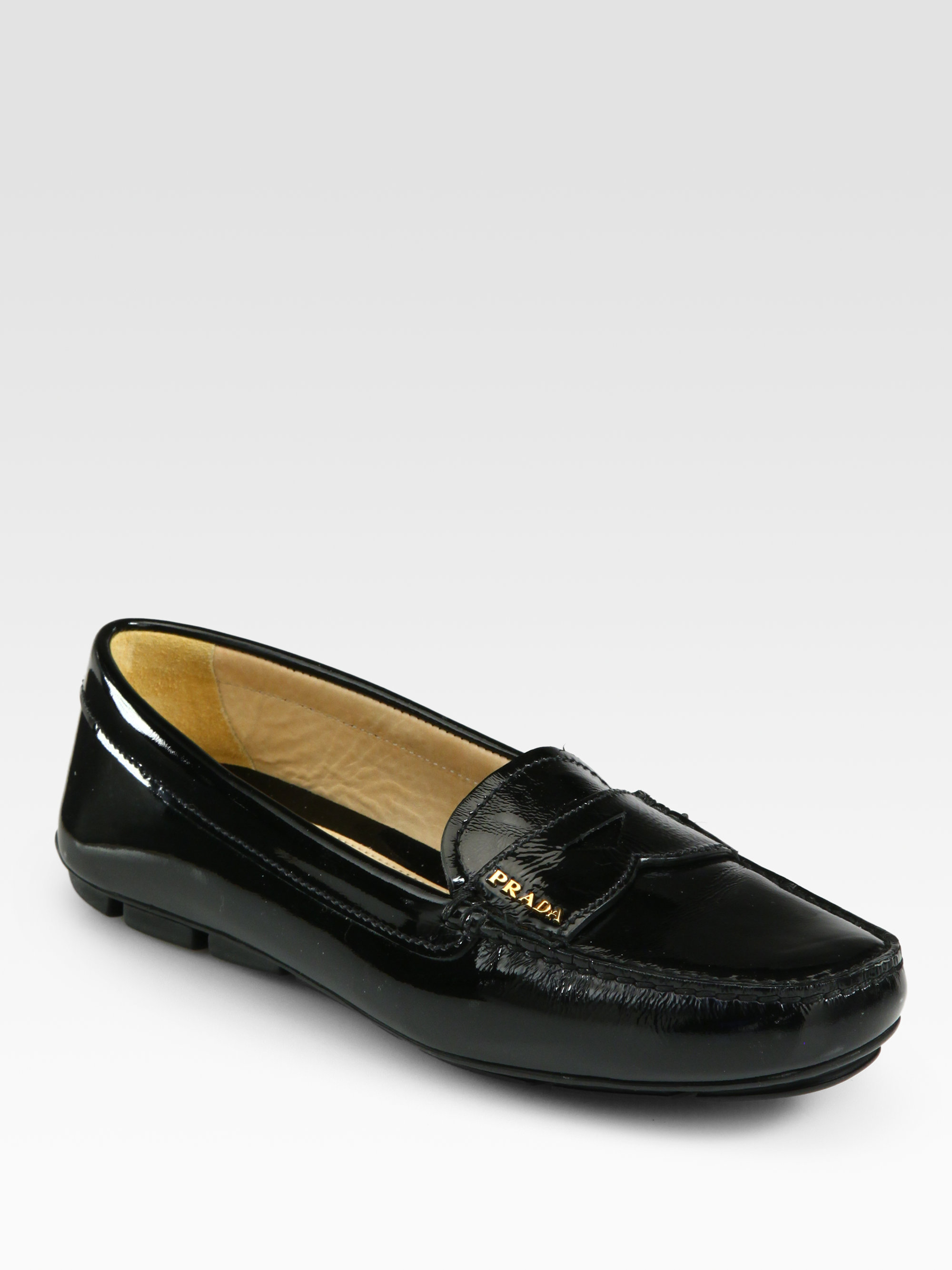 Prada Patent Leather Loafers In Black Lyst