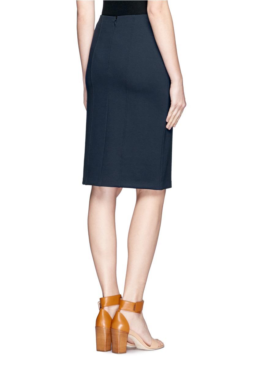 armani stretchy pencil skirt in blue lyst