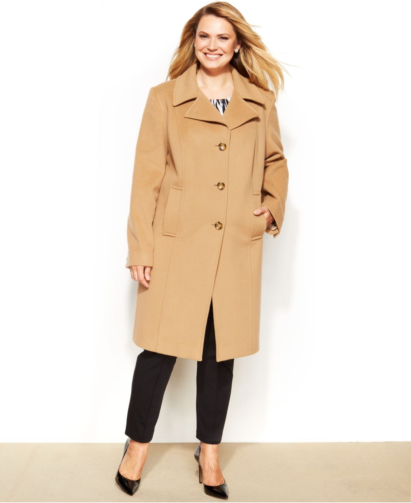 Anne klein Plus Size Wool-Cashmere-Blend Walker Coat in Natural | Lyst