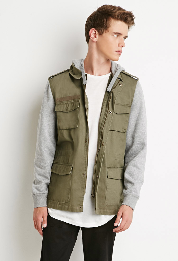 Forever 21 Hooded Utility Jacket in Gray for Men | Lyst
