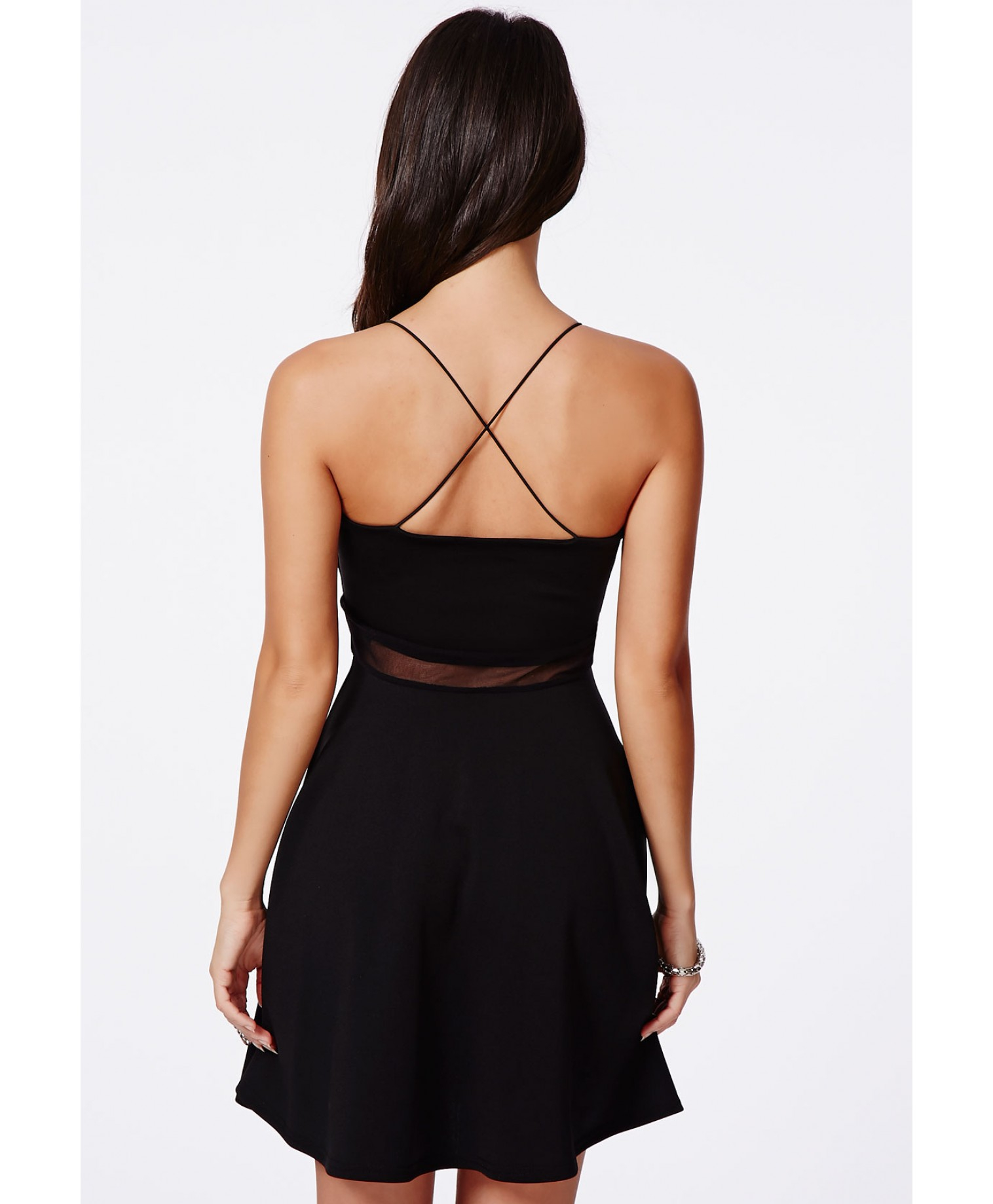 Missguided Meshia Black Strappy Mesh Swing Dress in Black ...