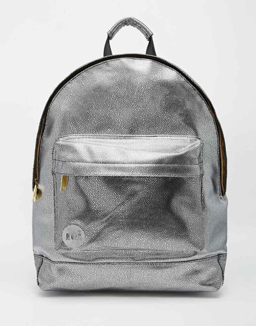 Mi Pac Backpack In Metallic Silver Lyst