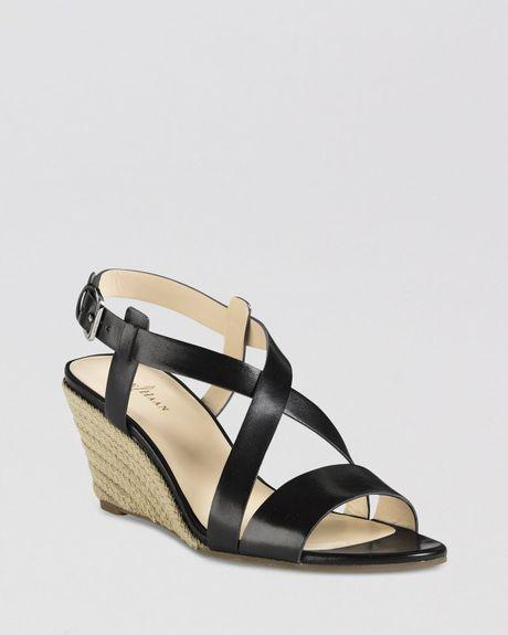 cole haan open toe wedge sandals in black lyst