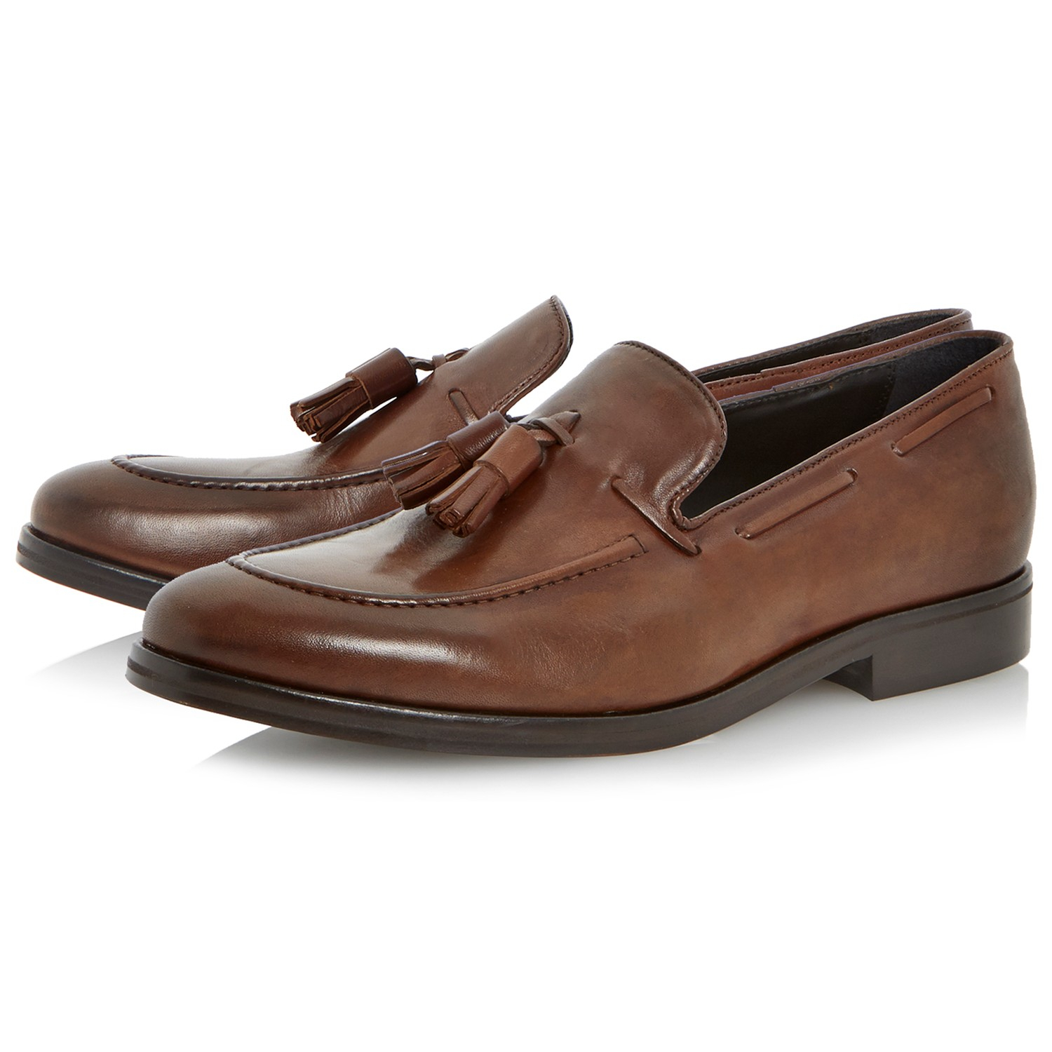 Dune Remus Leather Tassel Loafers in Brown for Men
