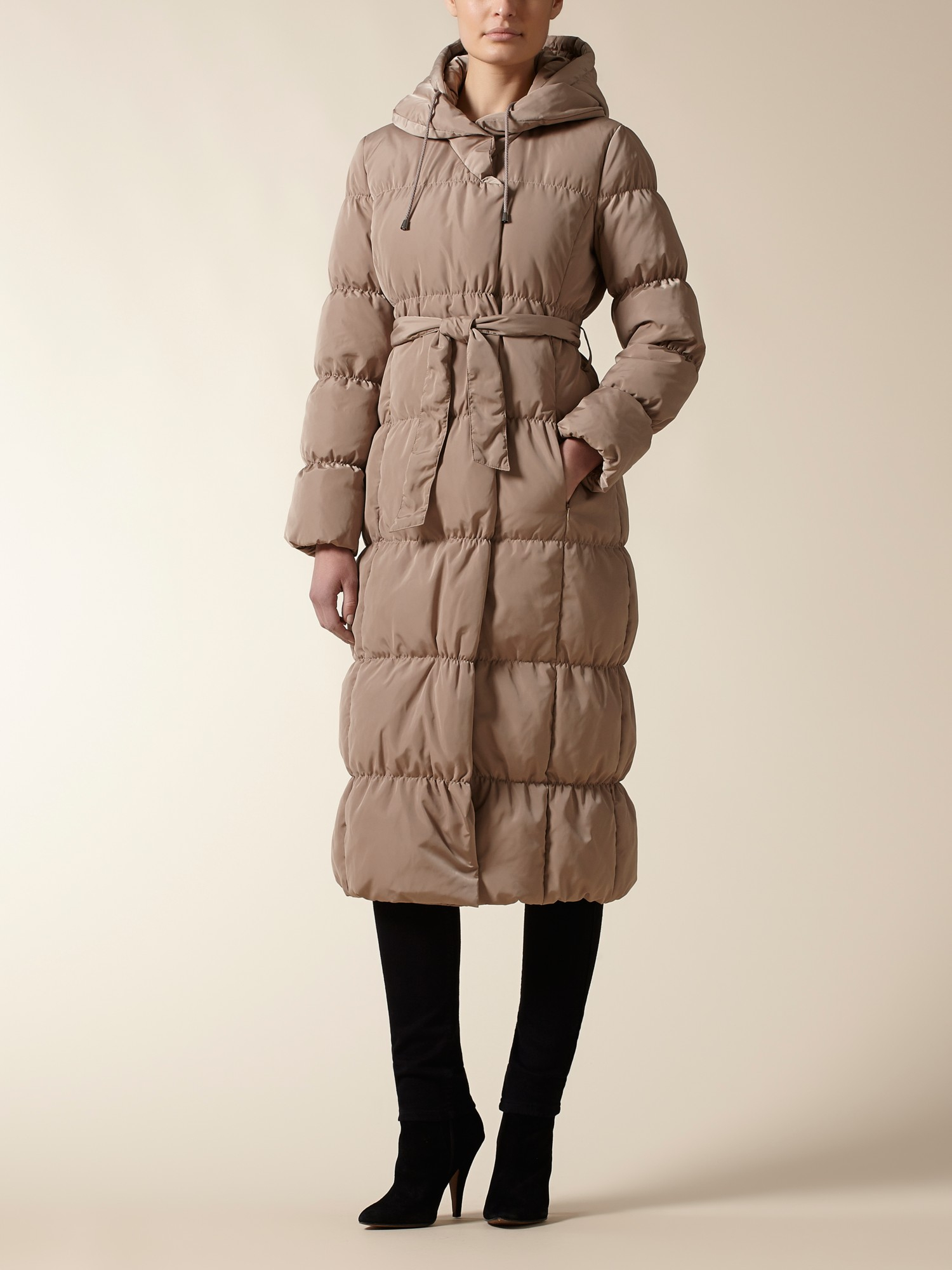 Jaeger Shawl Collar Puffer Coat In Brown Lyst