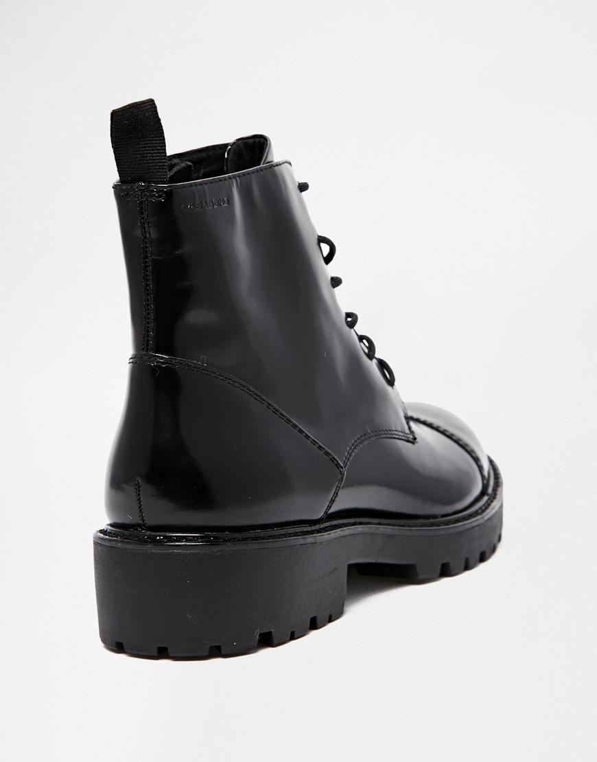 120e9752b57 Vagabond Kenova Lace Up Black Polished Leather Ankle Boots