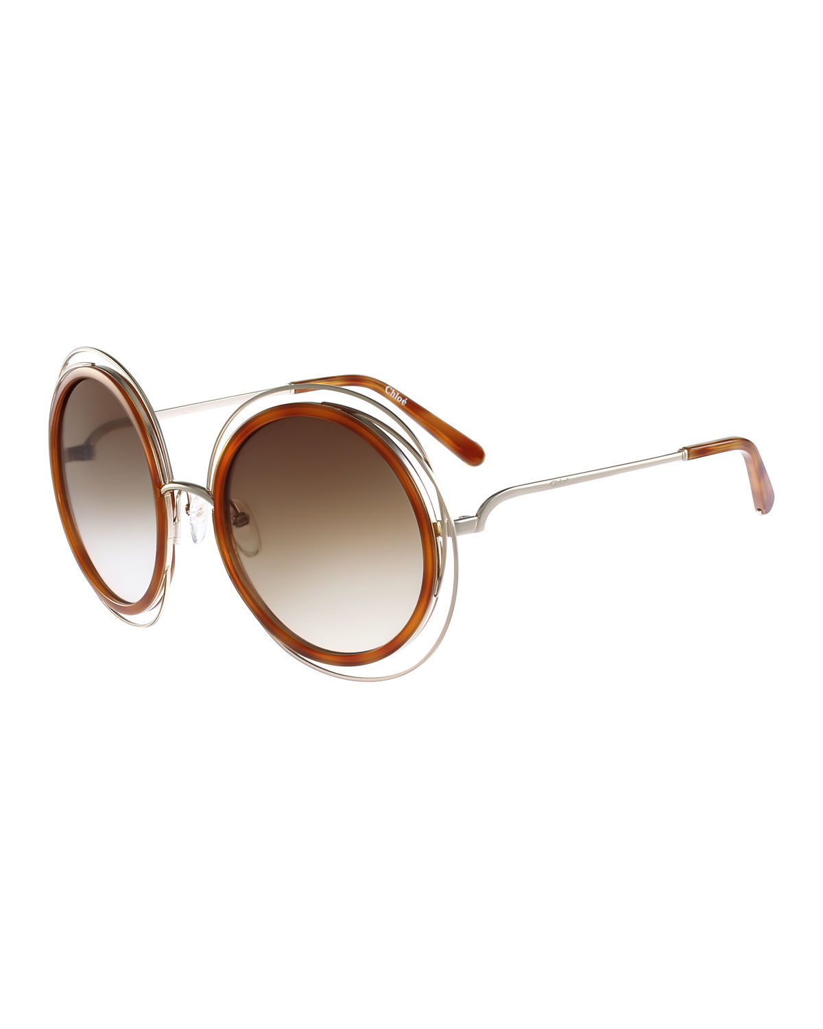84f5b20bbb Lyst - Chloé Carlina Trimmed Round Sunglasses in Red