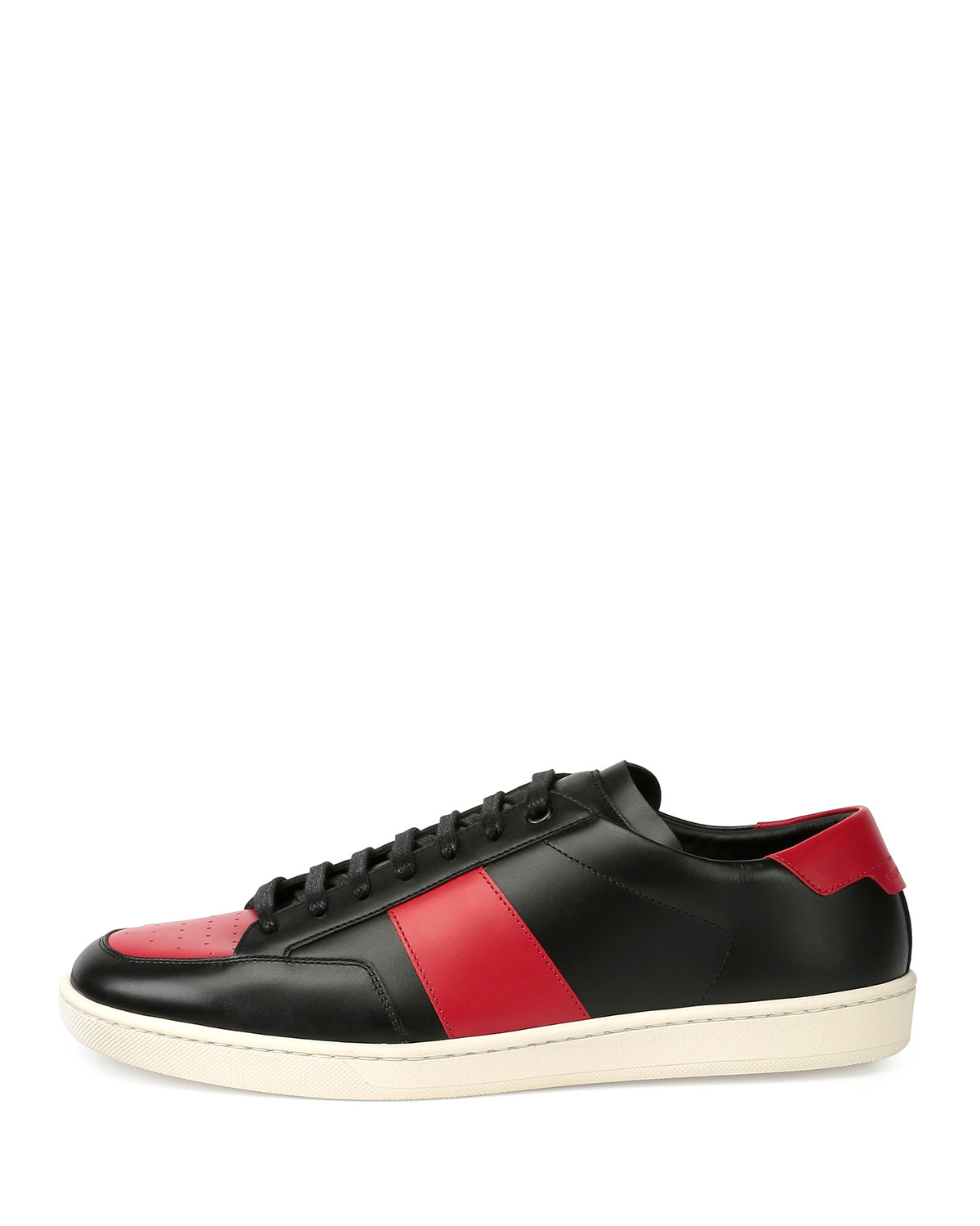 saint laurent sl 10h leather low top sneaker in red lyst. Black Bedroom Furniture Sets. Home Design Ideas