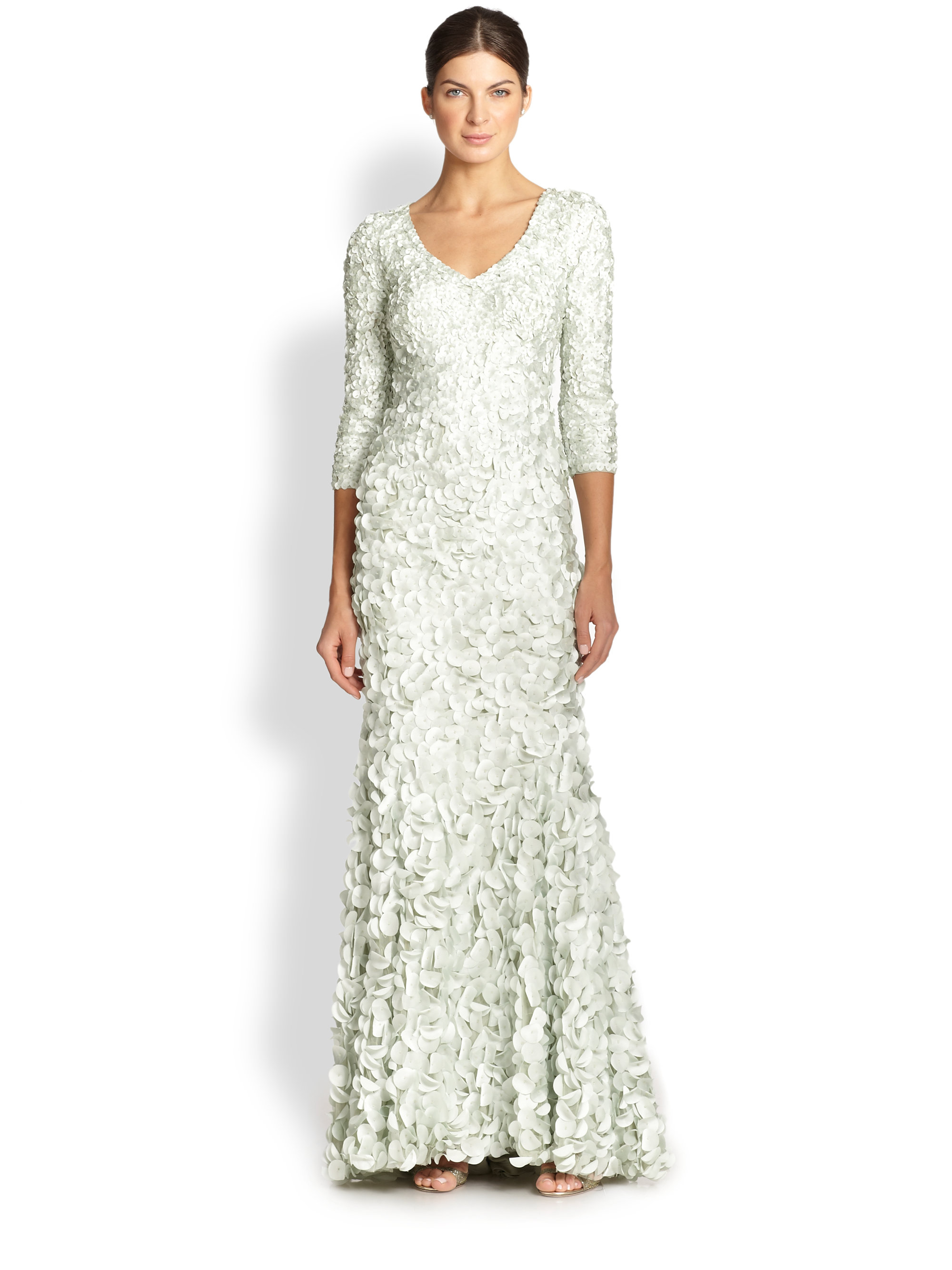 Lyst - Theia Petal Three-Quarter-Sleeve Gown in Green
