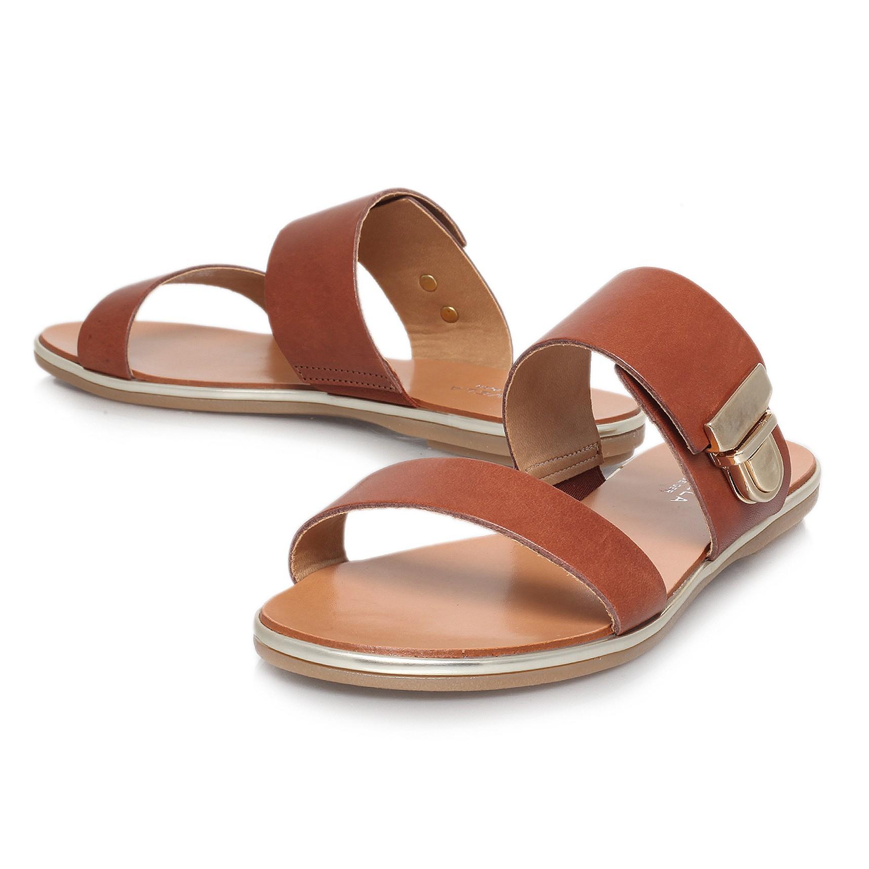 572d83691dbcab Carvela Kurt Geiger Kall Flat Leather Sandals in Brown - Lyst