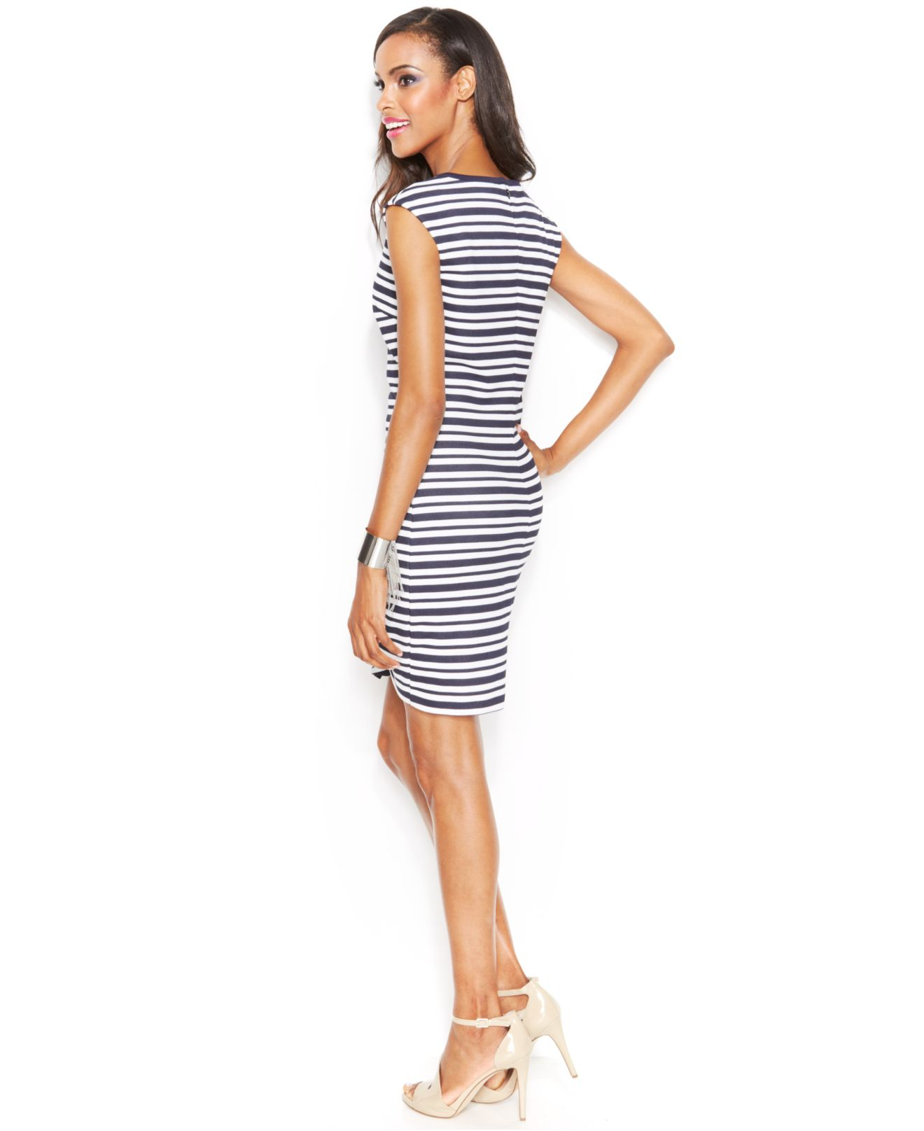 lyst inc international concepts striped asymmetrical hem t shirt dress in blue. Black Bedroom Furniture Sets. Home Design Ideas