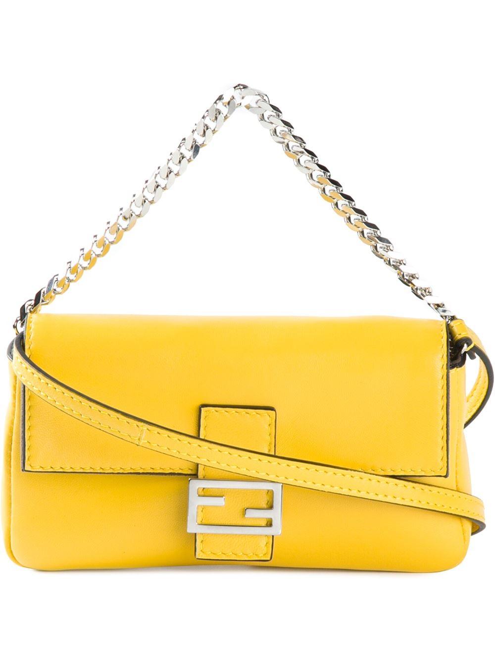 Fendi Baguette Micro Calf Leather Shoulder Bag in Yellow | Lyst