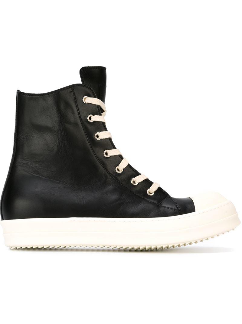 rick owens hi top sneakers in beige for men black lyst. Black Bedroom Furniture Sets. Home Design Ideas