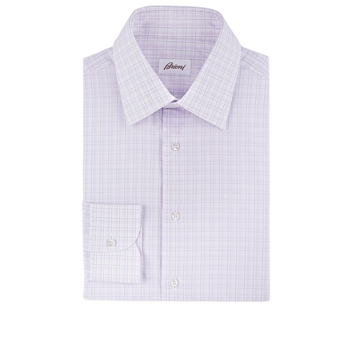 lyst brioni plaid dress shirt in purple for men