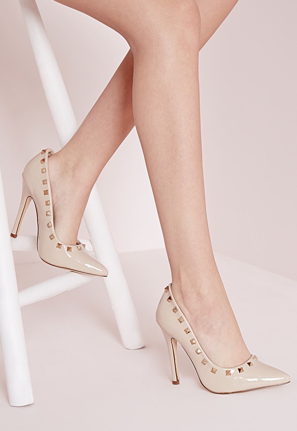 e6f74895154 Missguided Patent Studded Court Shoes Nude in Natural - Lyst