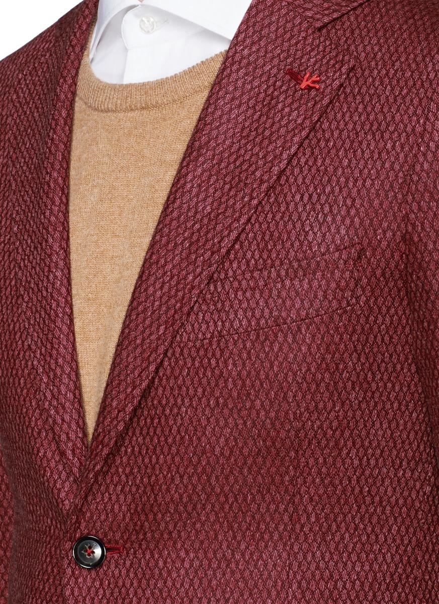 bc46fb68b8f Lyst - Isaia  cortina  Geometric Pattern Wool-cashmere-cotton Blazer ...