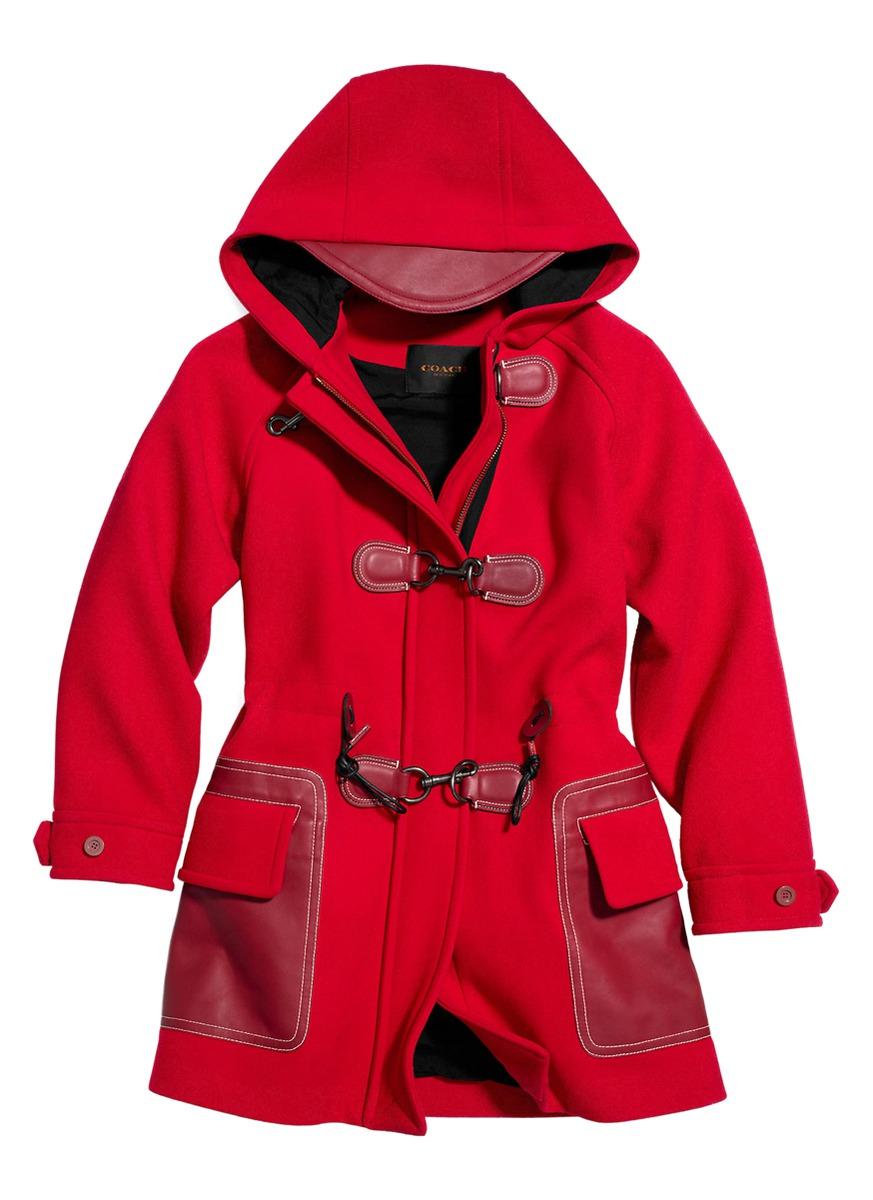 Coach X Blitz Raglan Sleeve Wool Duffle Coat in Red | Lyst