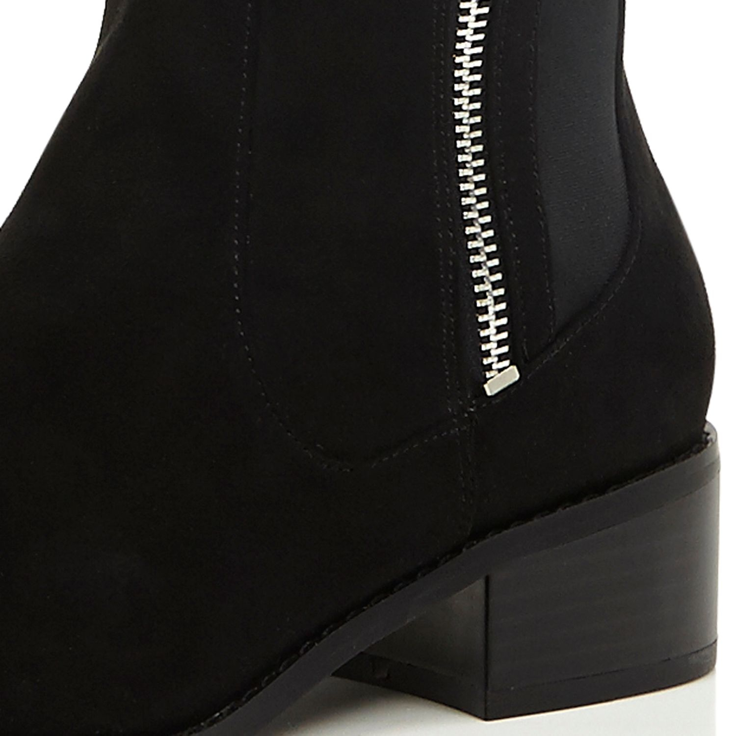 2bc6c2fd4ae1 River Island Black Zip Side Knee High Flat Boots In Lyst