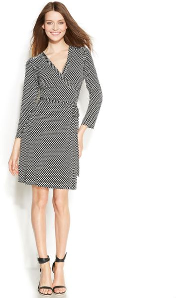 Calvin Klein Threequartersleeve Printed Wrap Dress In