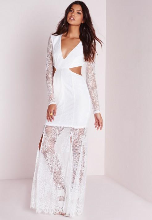 Maxi dress white sleeves dresses