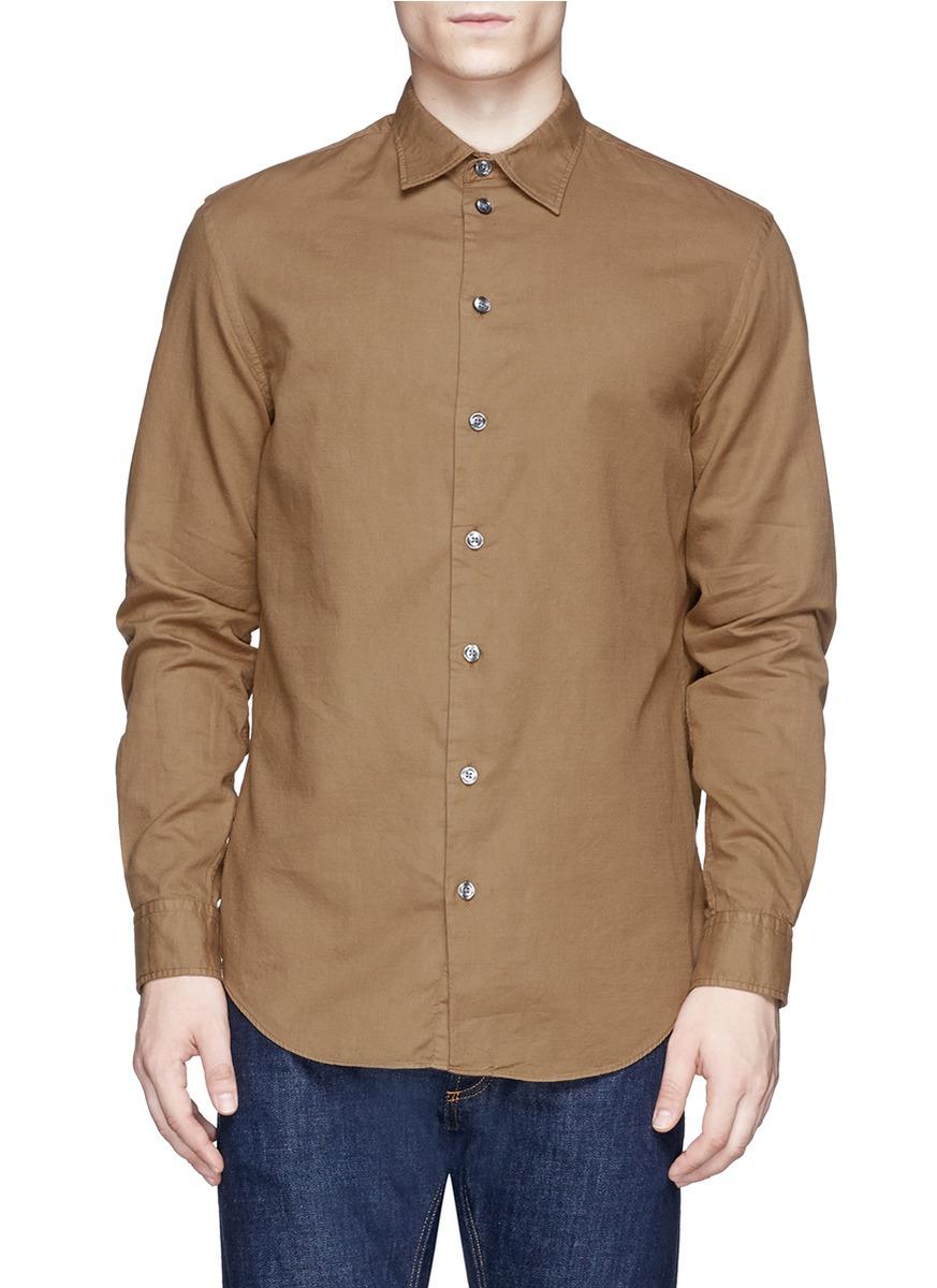 Lyst armani semi spread collar hopsack shirt in natural for Semi spread collar shirt