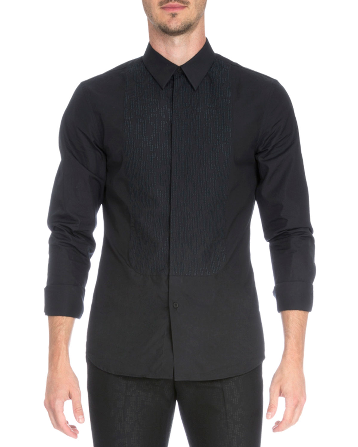 Givenchy Leo Embroidered Bib Tuxedo Shirt In Black For Men