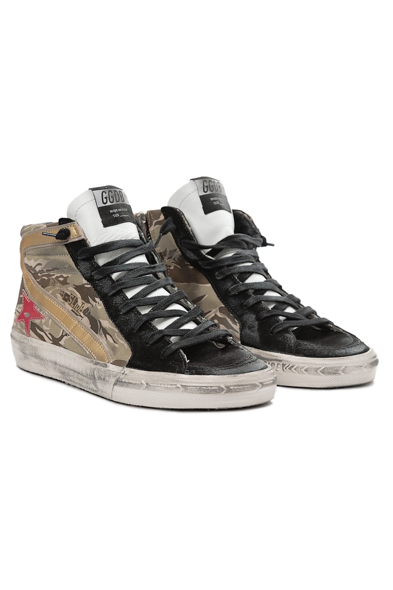 golden goose deluxe brand slide sneakers in gold camo lyst. Black Bedroom Furniture Sets. Home Design Ideas