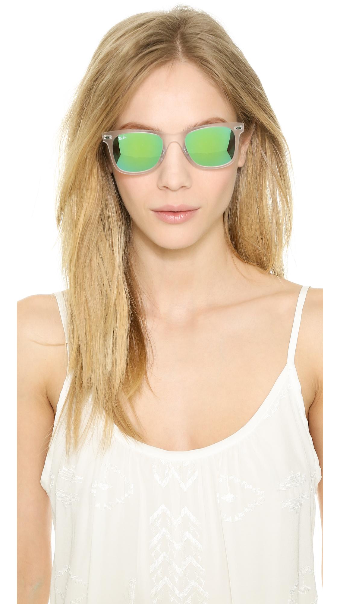85c342fffa3 ... 50% off lyst ray ban tech light sunglasses matte transparent green  mirror 8d052 409a3
