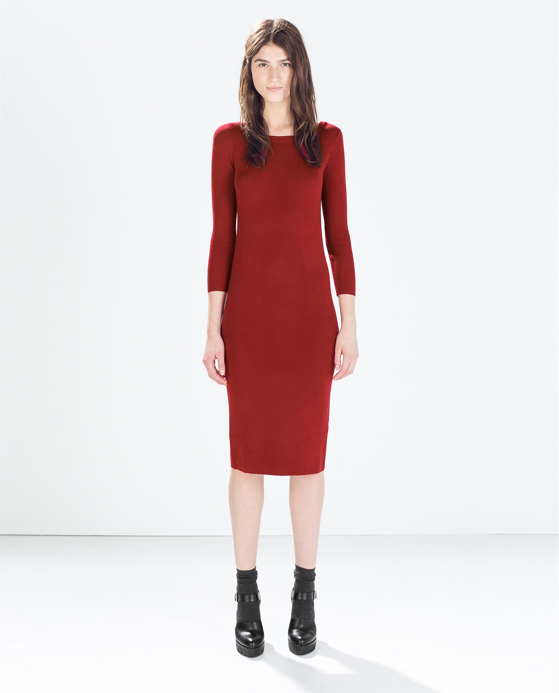 Zara Knit Dress in Red | Lyst