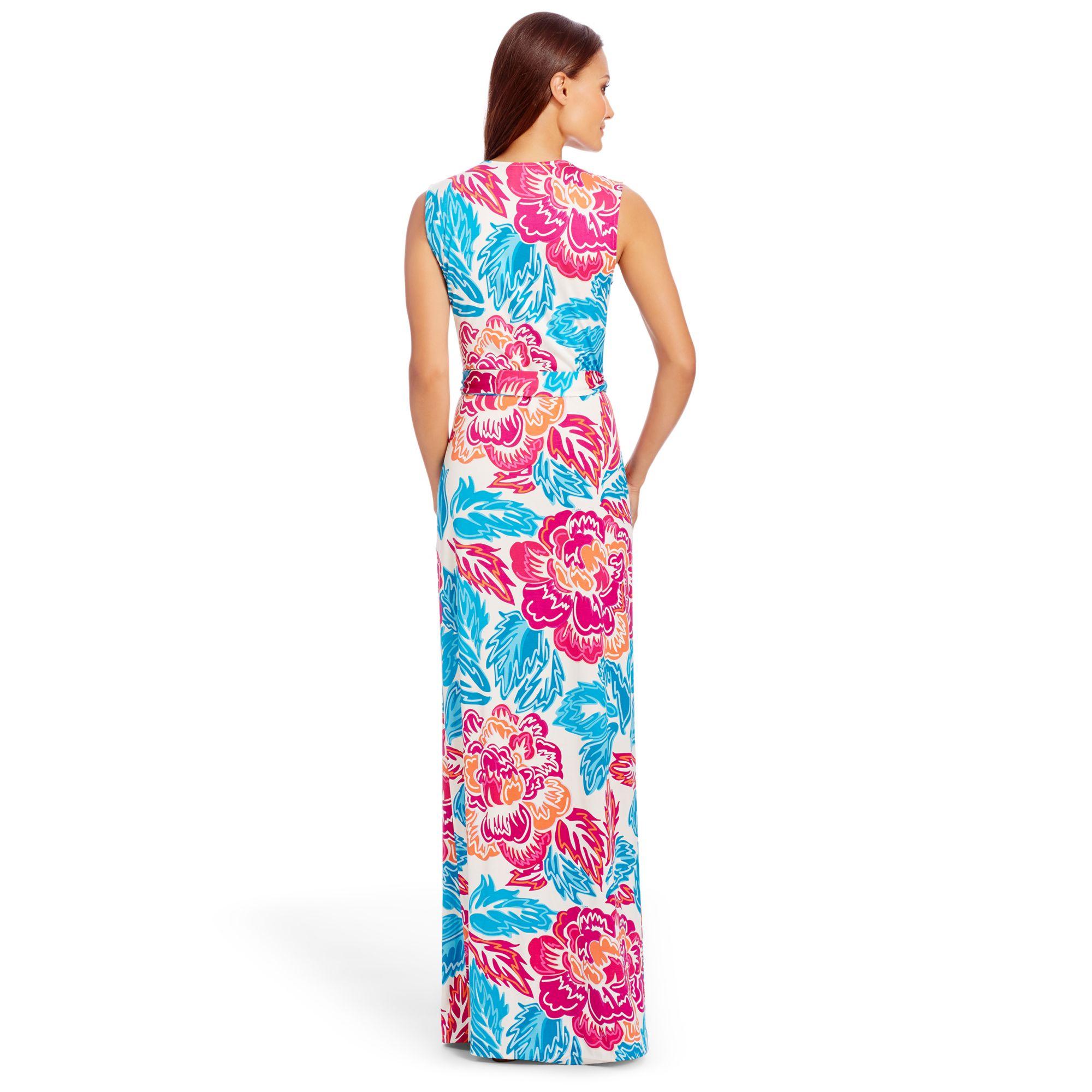 Yahzi two print silk wrap maxi dress