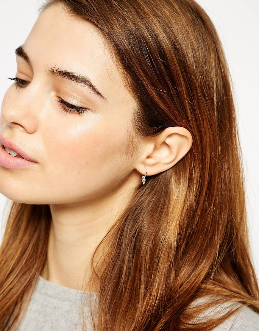 Asos Sterling Silver 9mm Spike Hoop Earrings In Metallic
