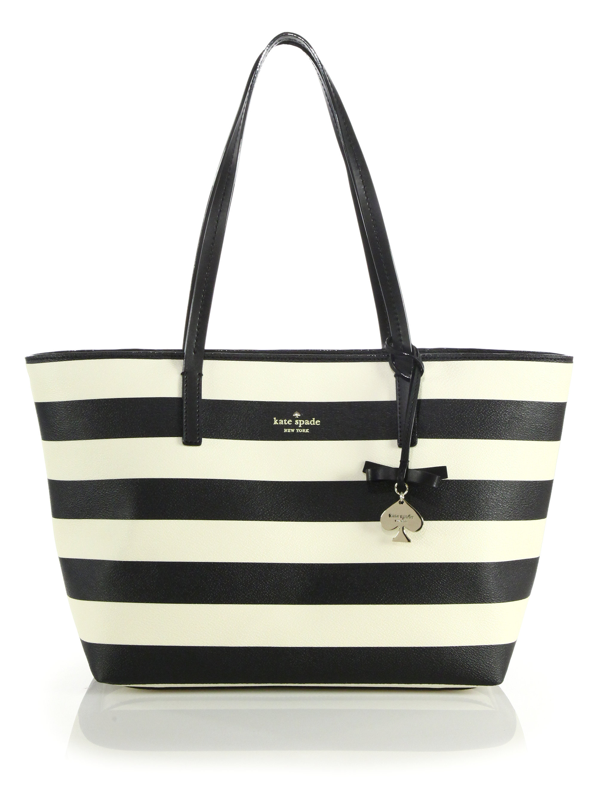 Striped Coated Canvas Tote In Black