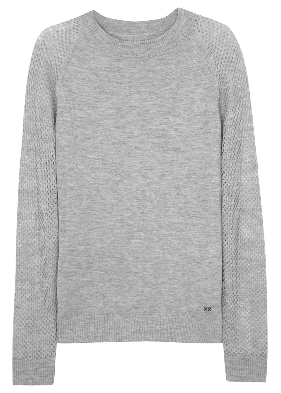 Banjo   Matilda Light Grey Perforated Silk and Cashmere Jumper in ... f5ca9a29273