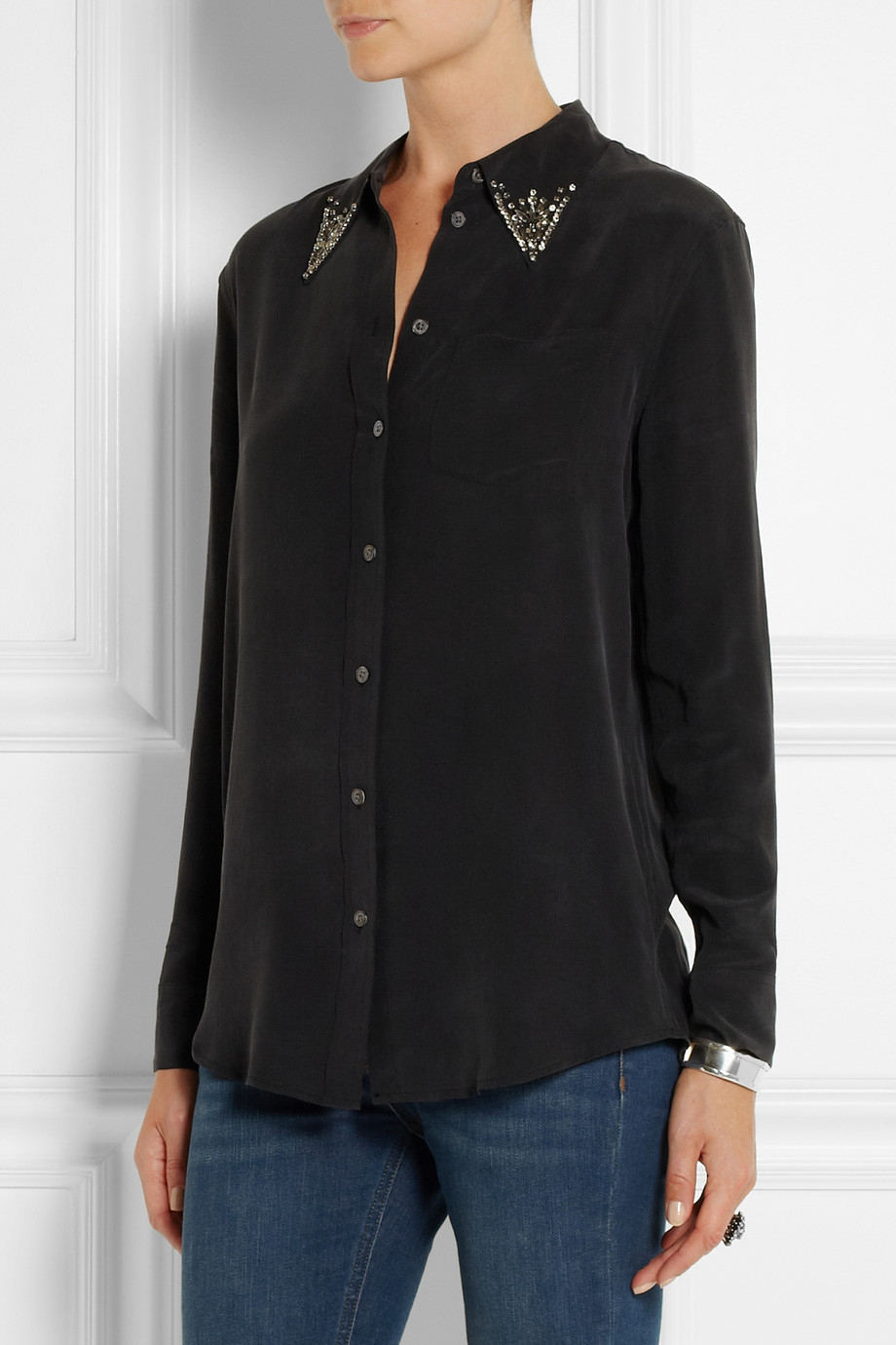 Lyst equipment reese crystal embellished washed silk for Equipment black silk shirt
