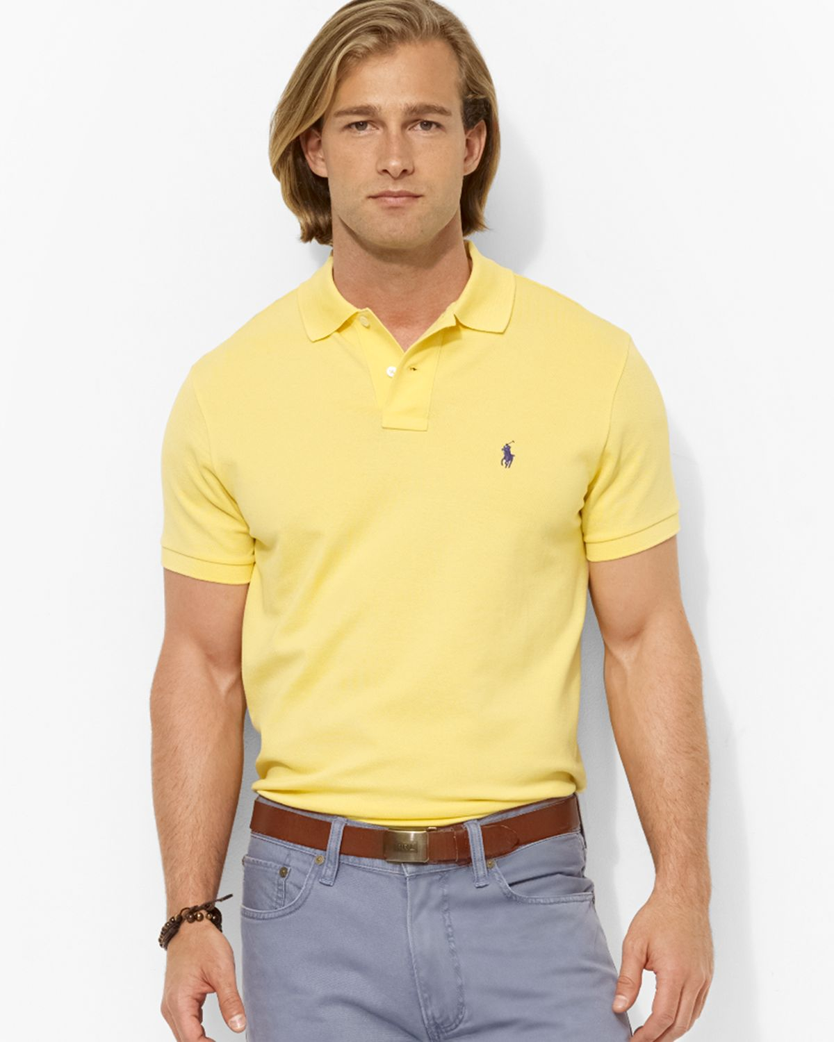Lyst ralph lauren polo custom stretchmesh polo shirt for Men s athletic polo shirts