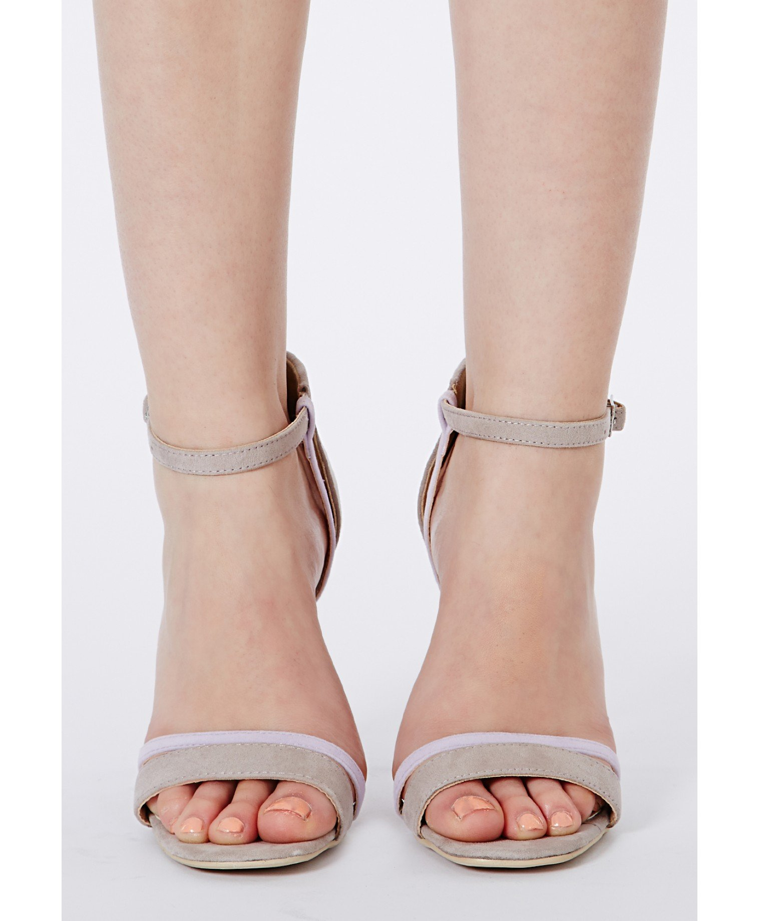 7afc3545f Missguided Victoria Grey Contrast Strappy Heeled Sandals in Gray - Lyst