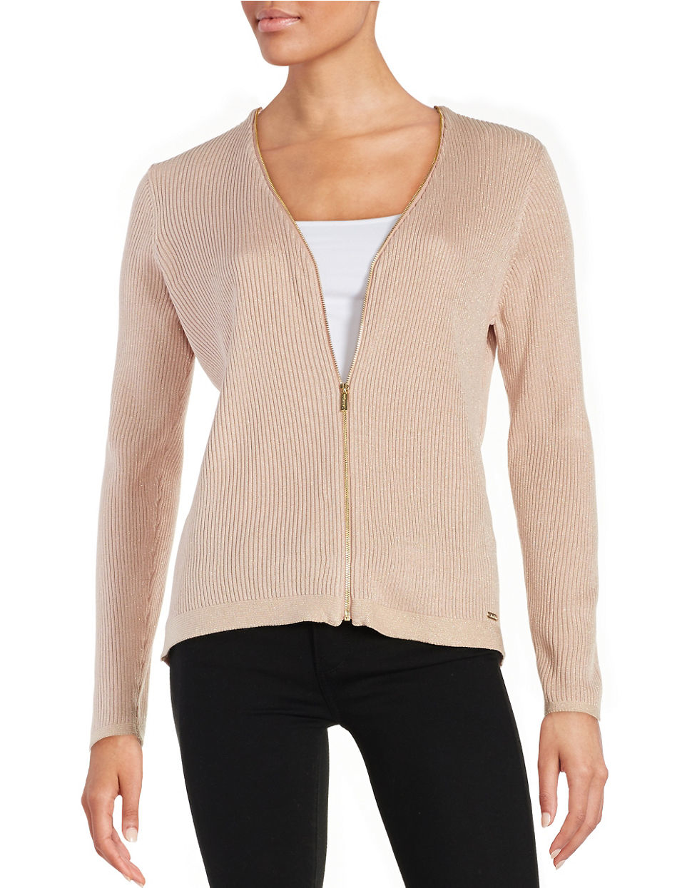 Calvin klein Front Zipper Ribbed Cardigan in Pink | Lyst