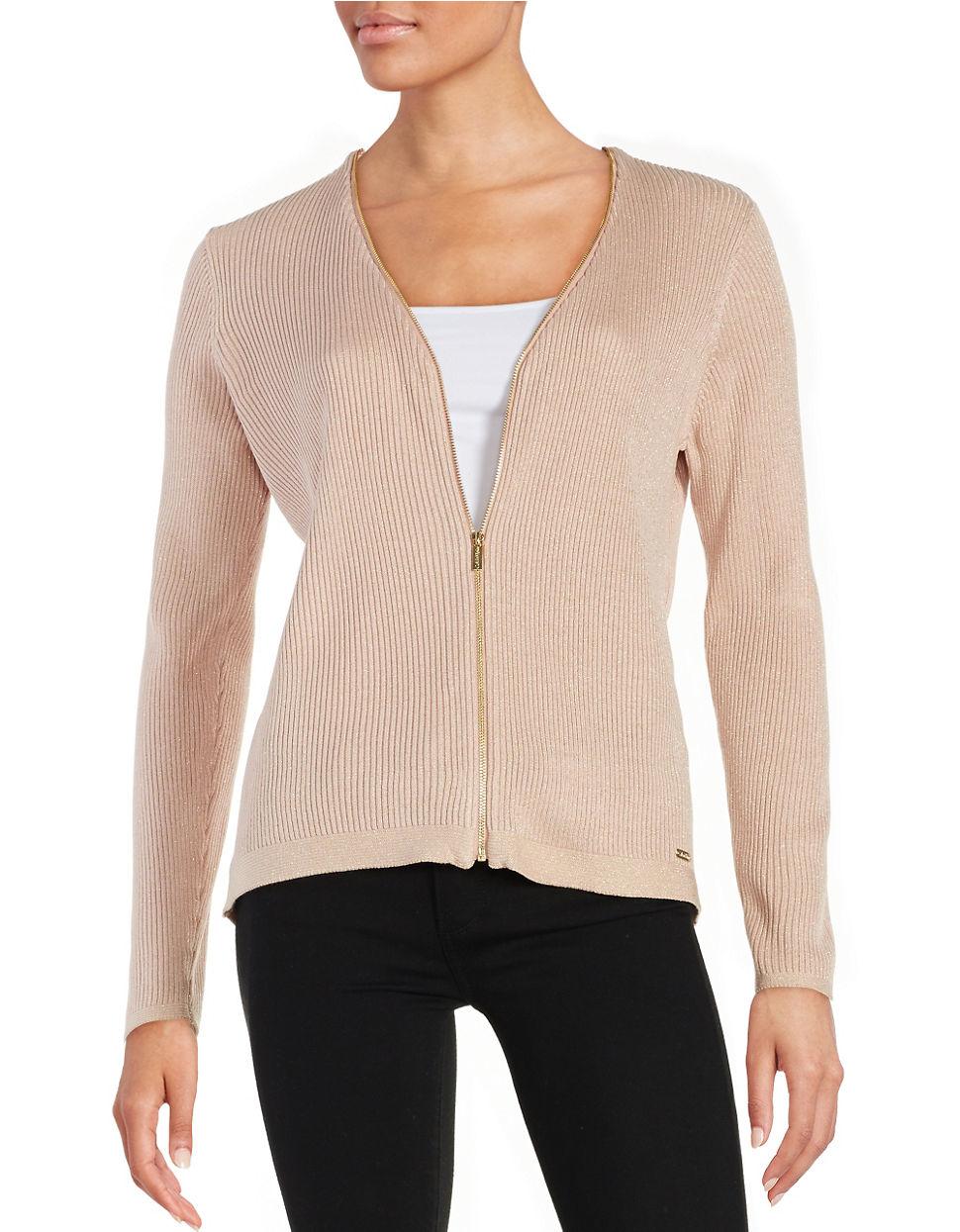 calvin klein front zipper ribbed cardigan in pink lyst. Black Bedroom Furniture Sets. Home Design Ideas