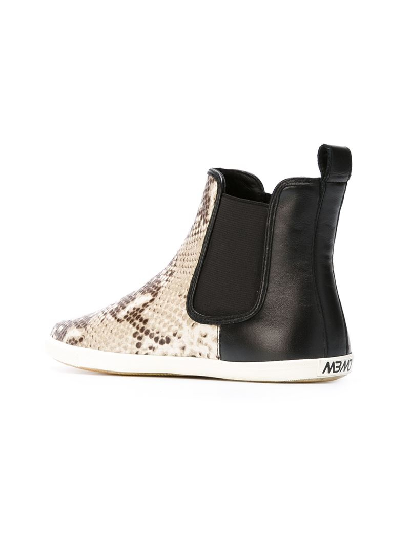Marc By Marc Jacobs Leather Slip-on Ankle Boots With A Snakeskin Pattern in Natural