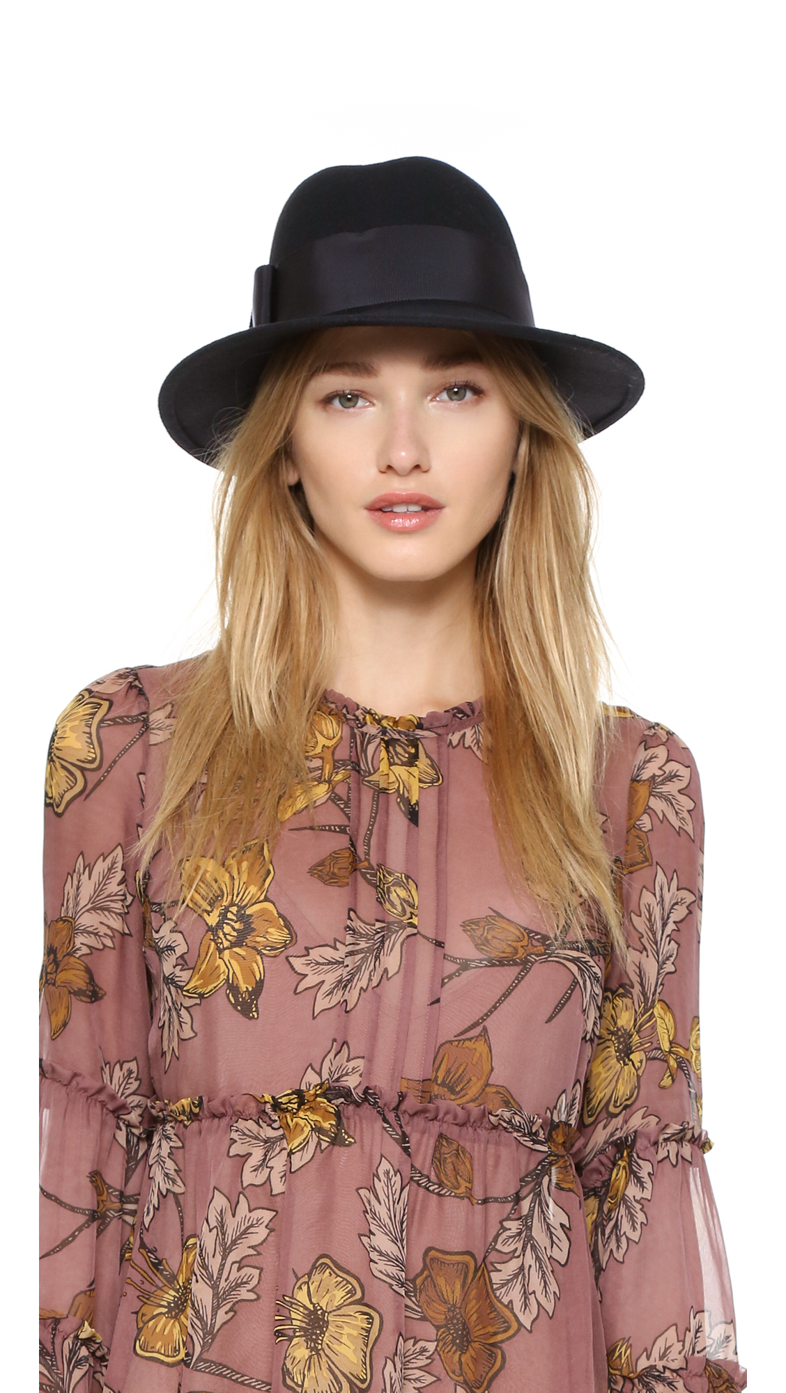 b5e323c97ad Lyst - Kate Spade Fedora Bow Hat - Sweetheart Pink in Black