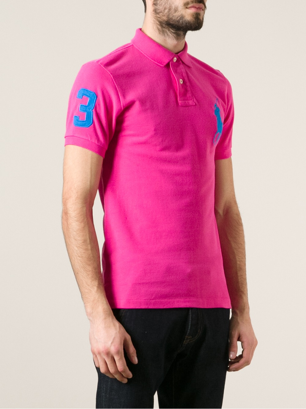 Lyst ralph lauren blue label classic polo shirt in pink for Pink and white ralph lauren shirt