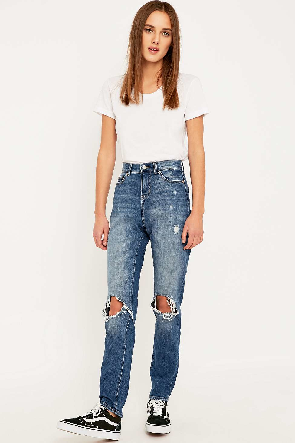251c95c101454 Cheap Monday Donna Ripped Blue Straight Leg Jeans in Blue - Lyst